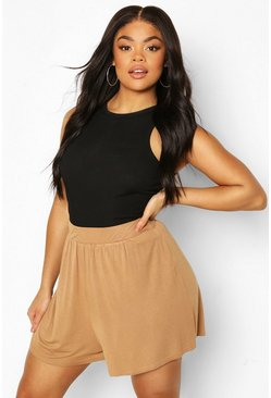 Camel beige Plus Jersey High Waist Flippy Shorts