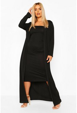 Black Plus Bandeau Dress & Duster Two-Piece