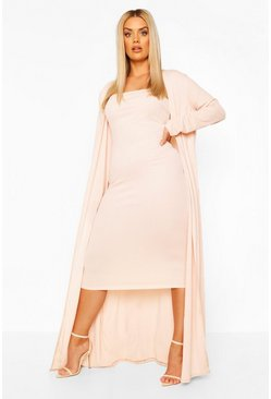 Ensemble robe bustier et manteau ample Plus, Blush rose