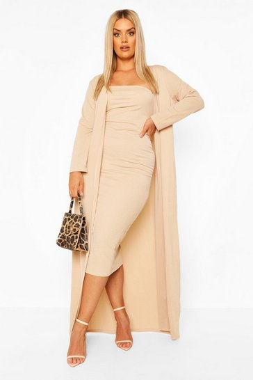 Stone beige Plus Bandeau Dress And Duster