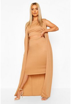 Camel beige Plus 3 Piece Duster Set Co-ord