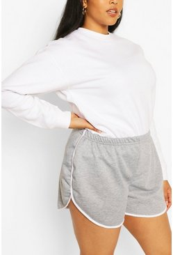 Grey Plus Loopback Stripe Running Short