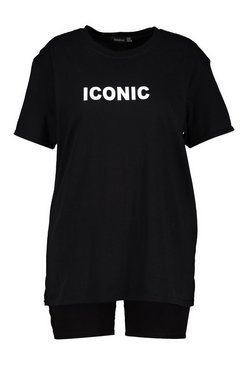 Black Plus Iconic Slogan T-Shirt & Short Co-ord