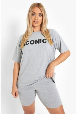 "Grey grå Plus - ""Iconic"" T-shirt och shorts"