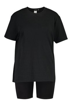 Black Plus T-Shirt & Cycle Short Co-ord