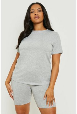 Grey Plus T-Shirt & Cycle Short Two-Piece