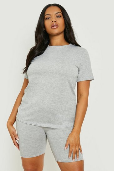 Grey Plus T-Shirt & Cycle Short Co-ord