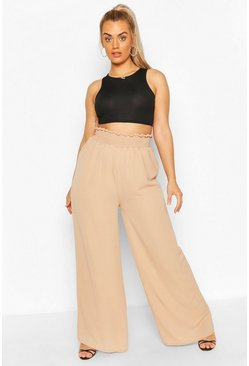 Camel beige Plus Woven Shirred Waist Wide Leg Pants