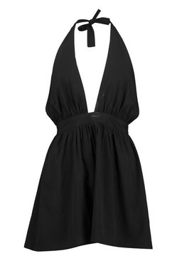 Black Petite Shell Trim Beach Dress