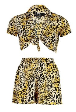 Brown Petite Tie Front Leopard Top & Short Co-Ord