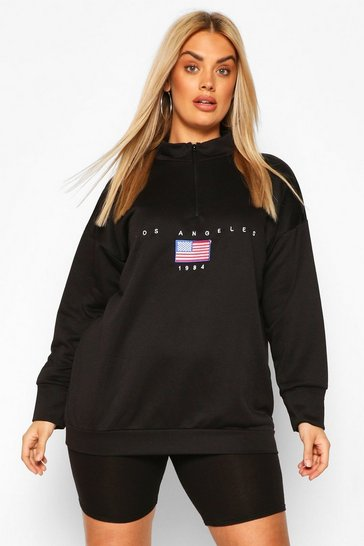 Black Plus Soft Zip Up Oversized Sweat