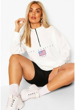 White Plus Soft Zip Up Oversized Sweat