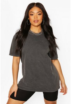 Black Plus Oversized Washed T-Shirt
