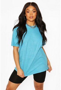 Turquoise blue Plus Oversized Washed T-Shirt