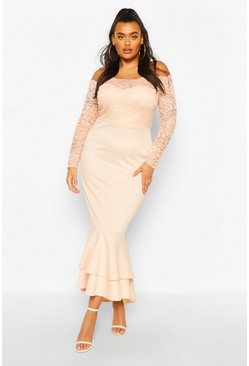 Blush pink Plus Lace Bardot Fishtail Maxi Dress