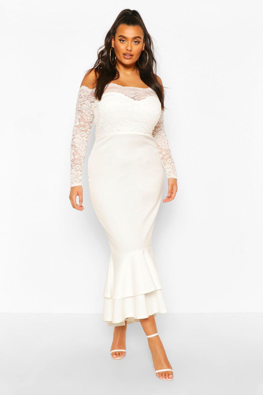 Plus Lace Bardot Fishtail Maxi Dress 2