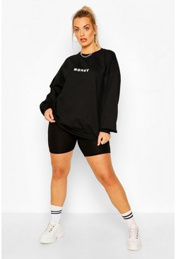 "Sudadera ""Honey"" Plus, Negro"