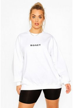 Plus Sweatshirt mit Honey-Print, Weiß