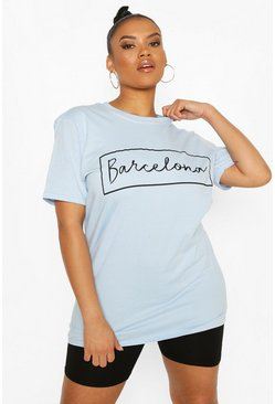 Pastel blue blue Plus 'Barcelona' Oversized T-shirt
