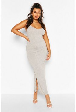Grey Plus Strappy Bodycon Maxi Dress