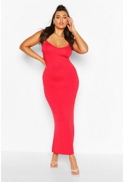 Red Plus Strappy Bodycon Maxi Dress