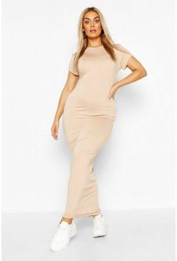 Stone beige Plus Cap Sleeve Maxi Dress