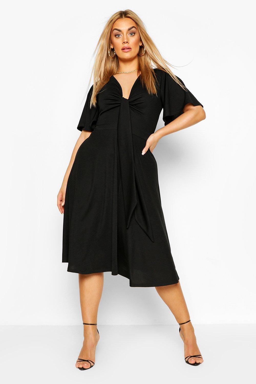 Plus Tie Front Angel Sleeve Midi Dress 3
