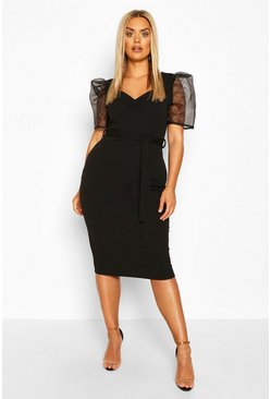 Black Plus Organza Puff Sleeve Midi Dress