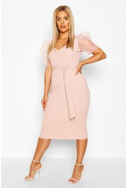 Blush pink Plus Organza Puff Sleeve Midi Dress