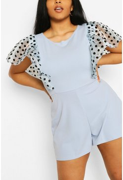 Sky blue PLus Polka Dot Organza Ruffle Playsuit
