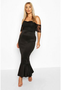 Black Plus Lace Bardot Fishtail Maxi Dress
