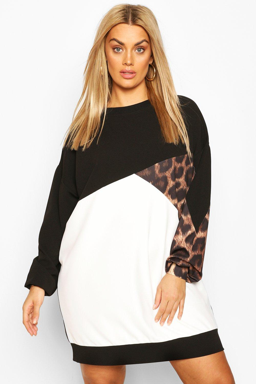 Plus Leopard Colour Block Sweat Dress 2
