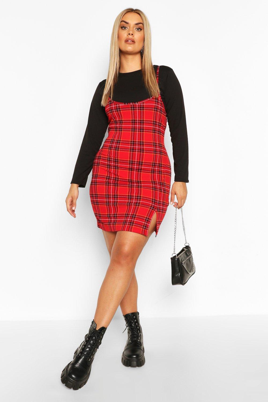 Plus Check Cami Mini Dress Set 6