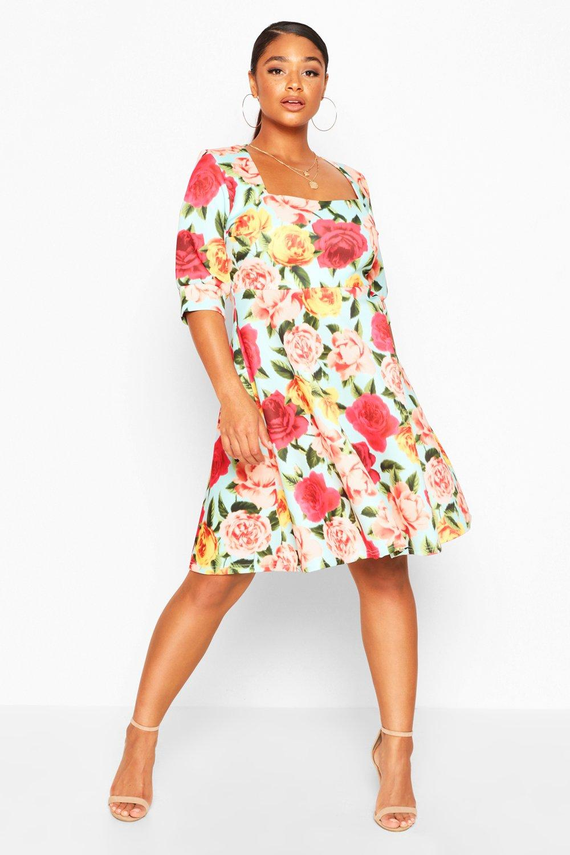 Plus Floral Print Skater Dress 5