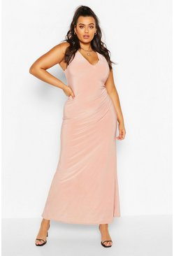 Blush pink Plus Plunge Slinky Maxi Dress
