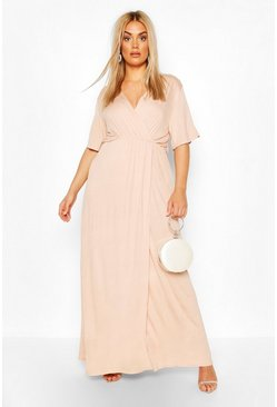 Blush pink Plus Angel Sleeve Wrap Maxi Dress