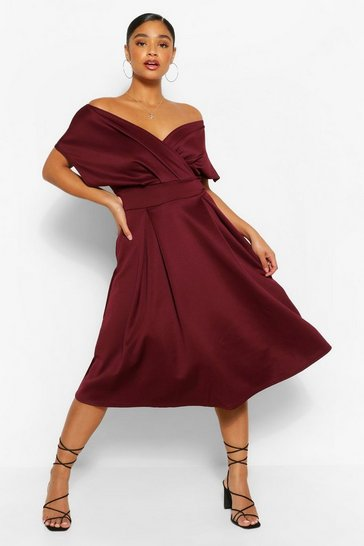 Berry red Plus Off The Shoulder Wrap Midi Dress