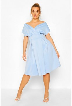 Cornflower blue blue Plus Off The Shoulder Wrap Midi Dress