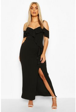 Black Plus Ruffle Cold Shoulder Maxi Dress