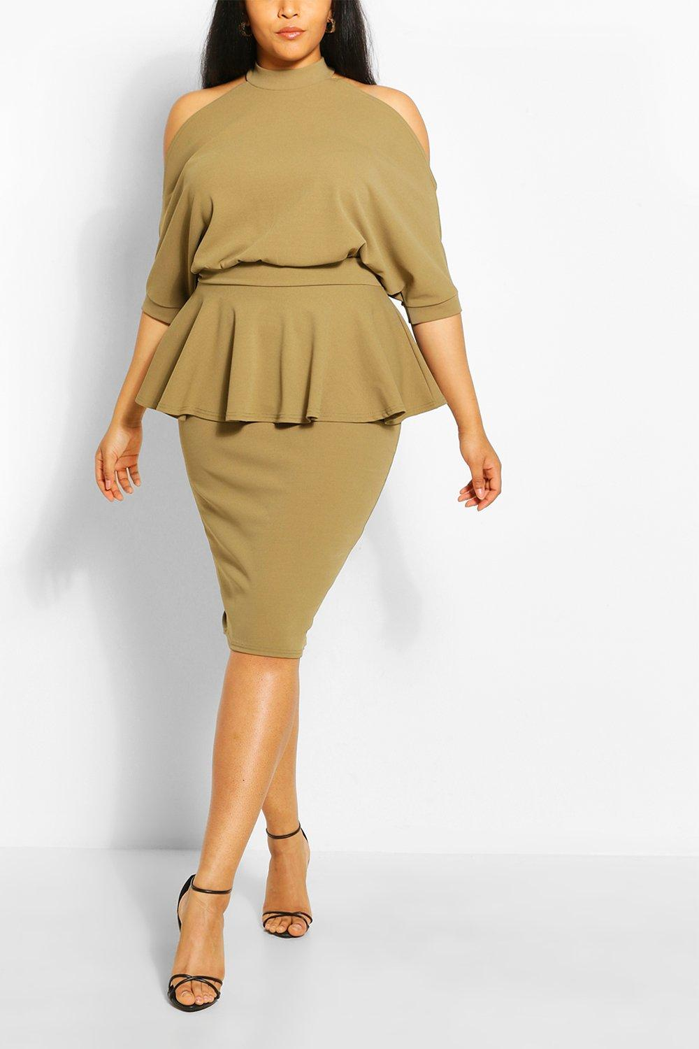 Plus Batwing Sleeve Peplum Dress 7