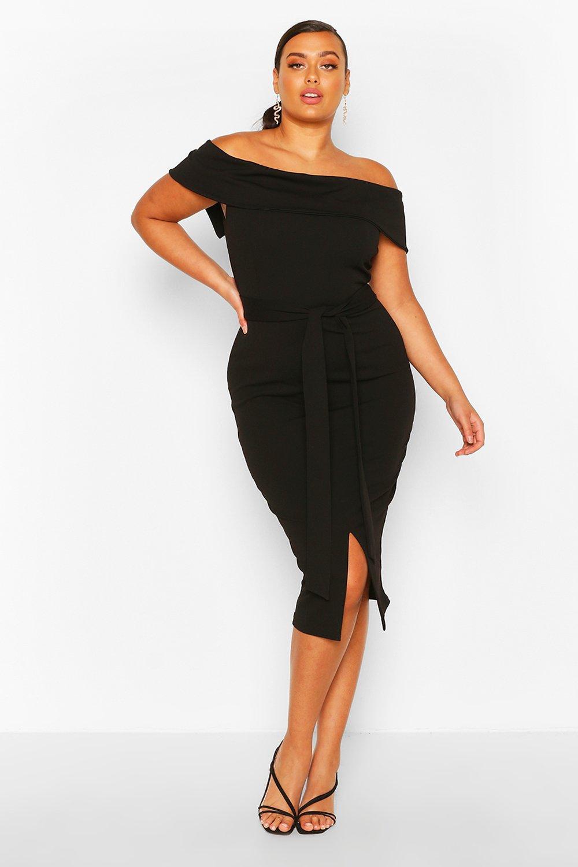 Plus Bardot Frill Tie Belt Midi Dress 6
