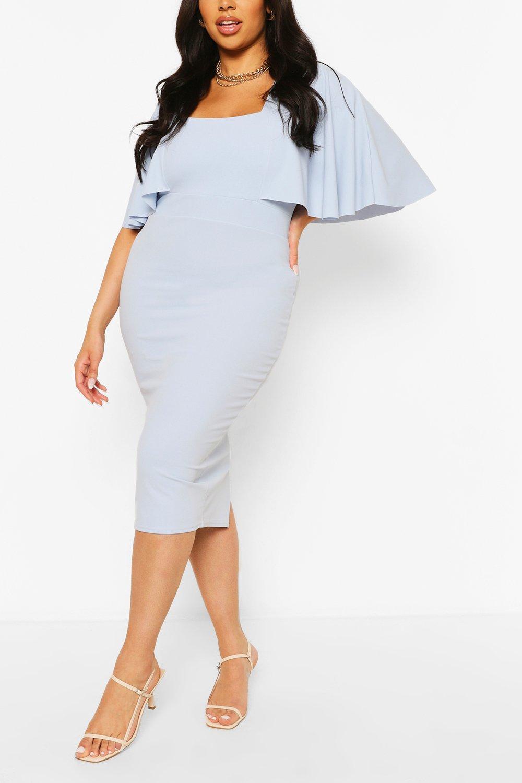 Plus Cape Sleeve Square Neck Midi Dress 6