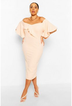 Blush Plus Bardot Cape Sleeve Midi Dress