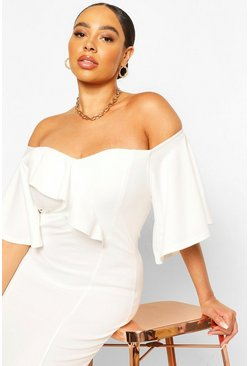 Ivory Plus Off The Shoulder Cape Sleeve Midi Dress