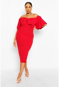 Red Plus Bardot Cape Sleeve Midi Dress