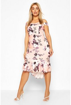 Blush Plus Floral Bardot Fishtail Ruffle Midi Dress