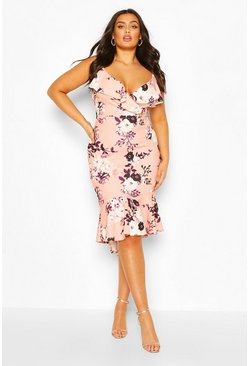 Blush Plus Floral Ruffle Fishtail Midi Dress