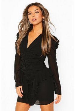 Black Petite Ruched Frill Chiffon Dress