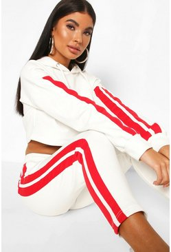 Ivory white Petite Side Stripe Crop Hoody & Jogger Tracksuit