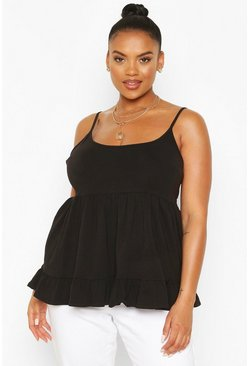 Black Plus Cotton Tiered Smock Cami